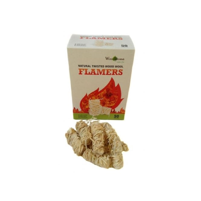 Box Of 50 Natural Twisted Wood Wool Firelighters ONLY SOLD WITH LOGS