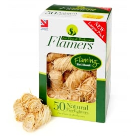 Box Of 50 Natural Wood Wool Flamers ONLY SOLD WITH LOGS & HEAT LOGS