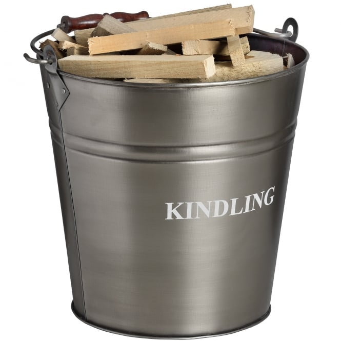 Contemporary Antique Pewter Kindling Bucket