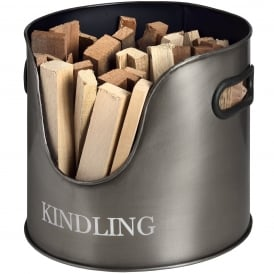 Contemporary Antique Pewter Kindling Storage Tin