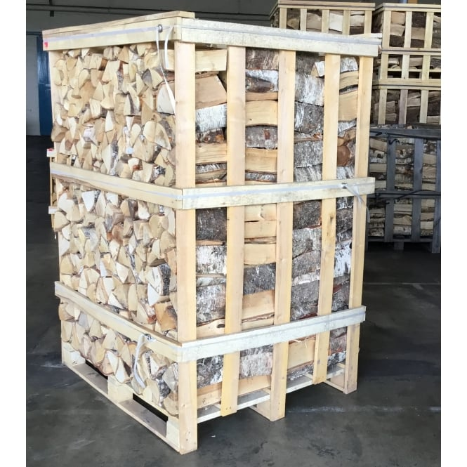 Kiln Dried BIRCH Logs Large Crate Combo & Six Nets Of Kindling